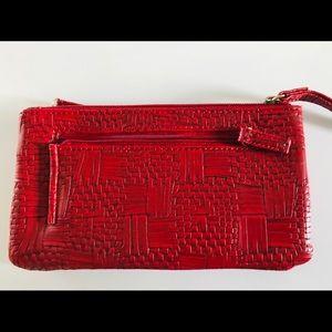 Red Vegan Leather Wristlet